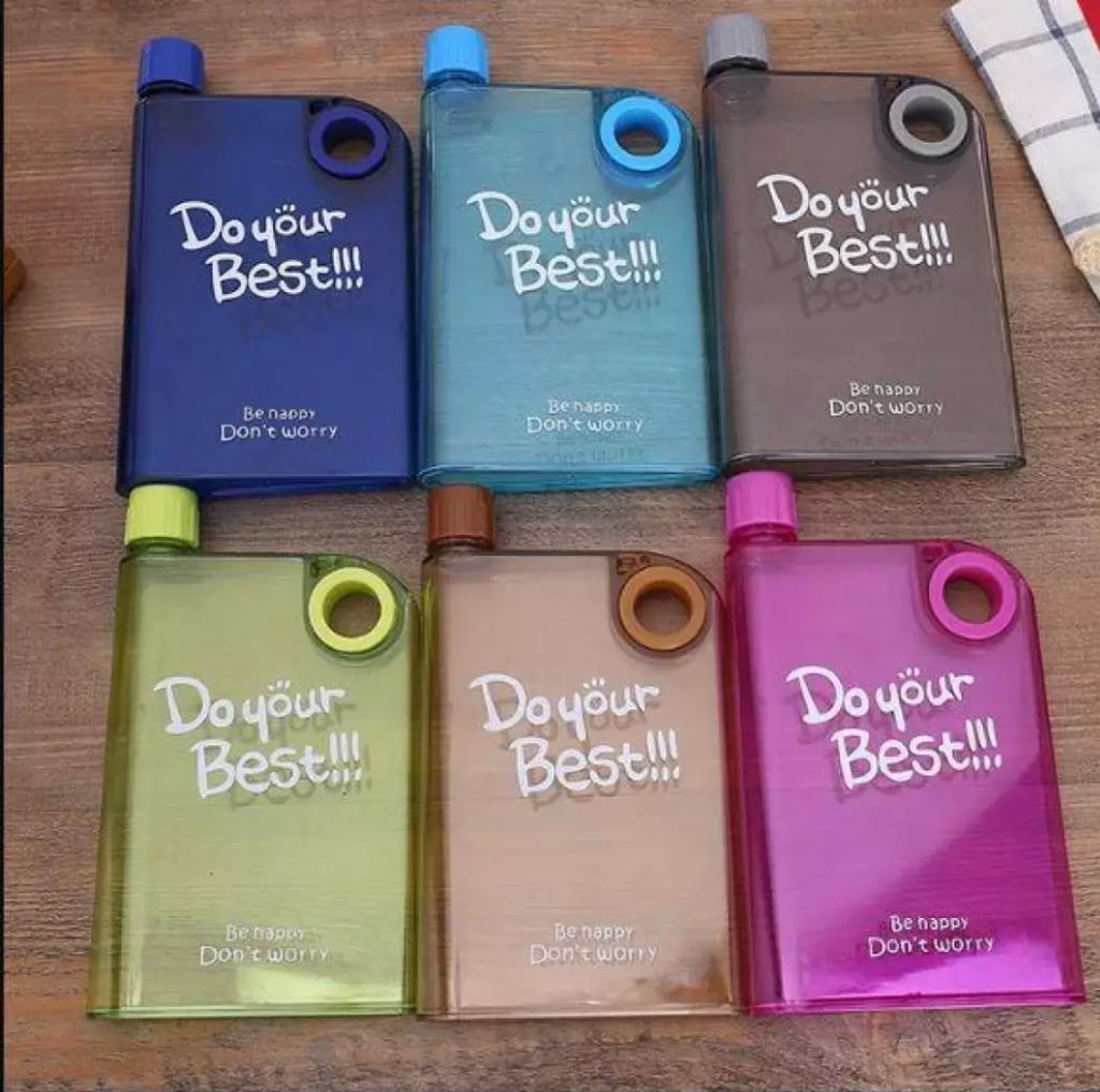 Ultra Slim Flat Stylish Note Book Water Bottle Notebook Water Bottle BPA FREE - Portable Leak-proof BPA FREE