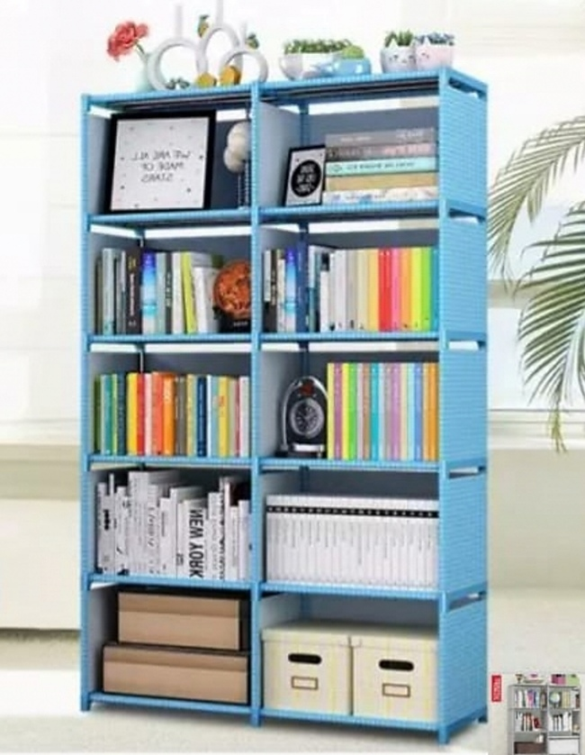Double row books rack shelfs for storage of books with attractive display