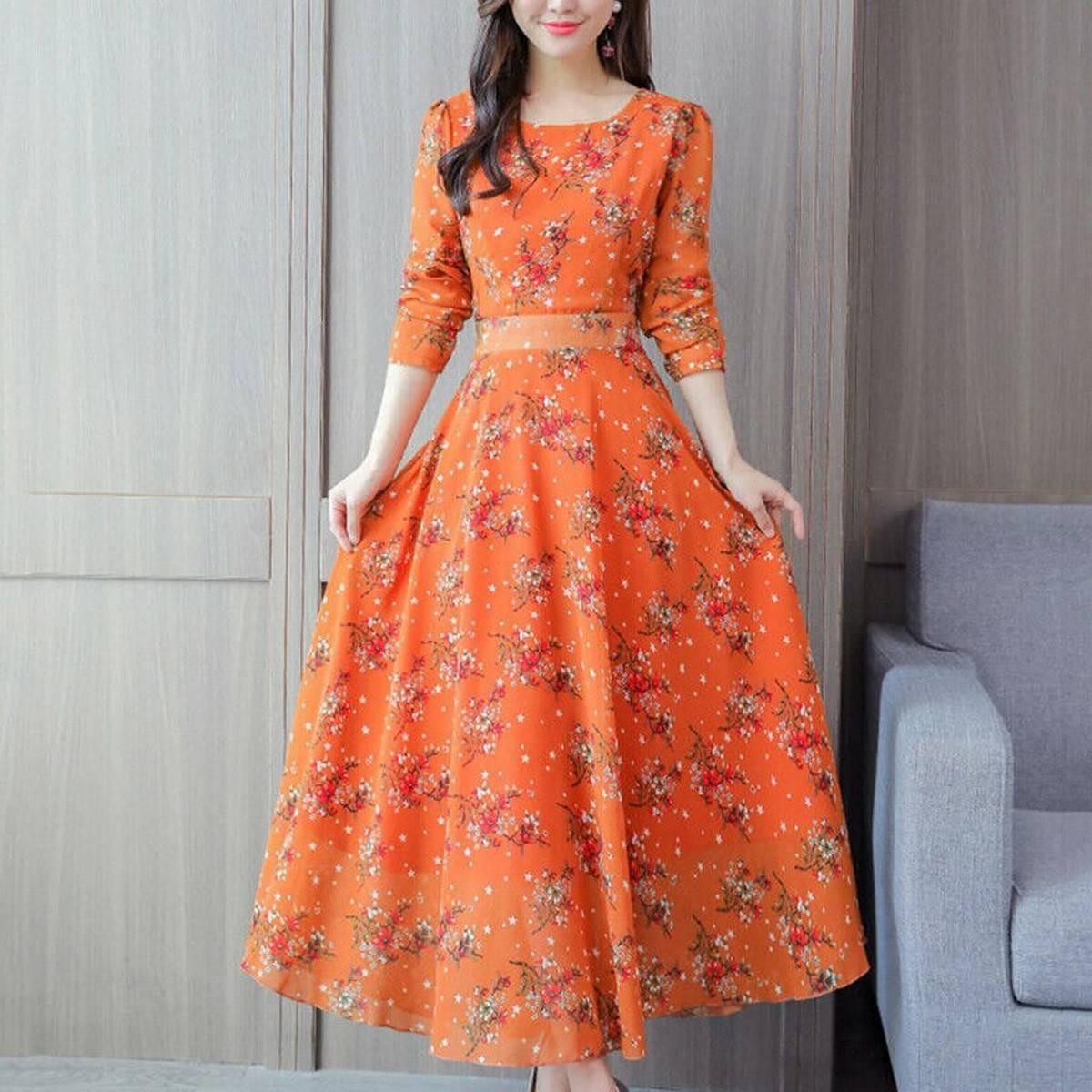 Women Floral Beach Dress Long Sleeve Casual Party Vintage Boho Maxi Dress Comfortable Versatile Dress