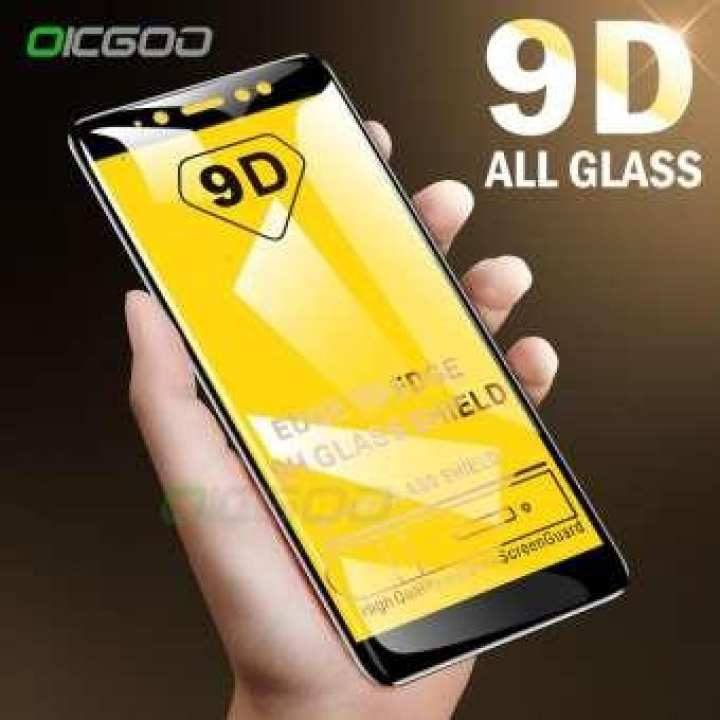 Samsung Galaxy J4 Plus Glass Protector Full Screen Cover 9D Full Glue Glass - Black With Unbreakable Packing