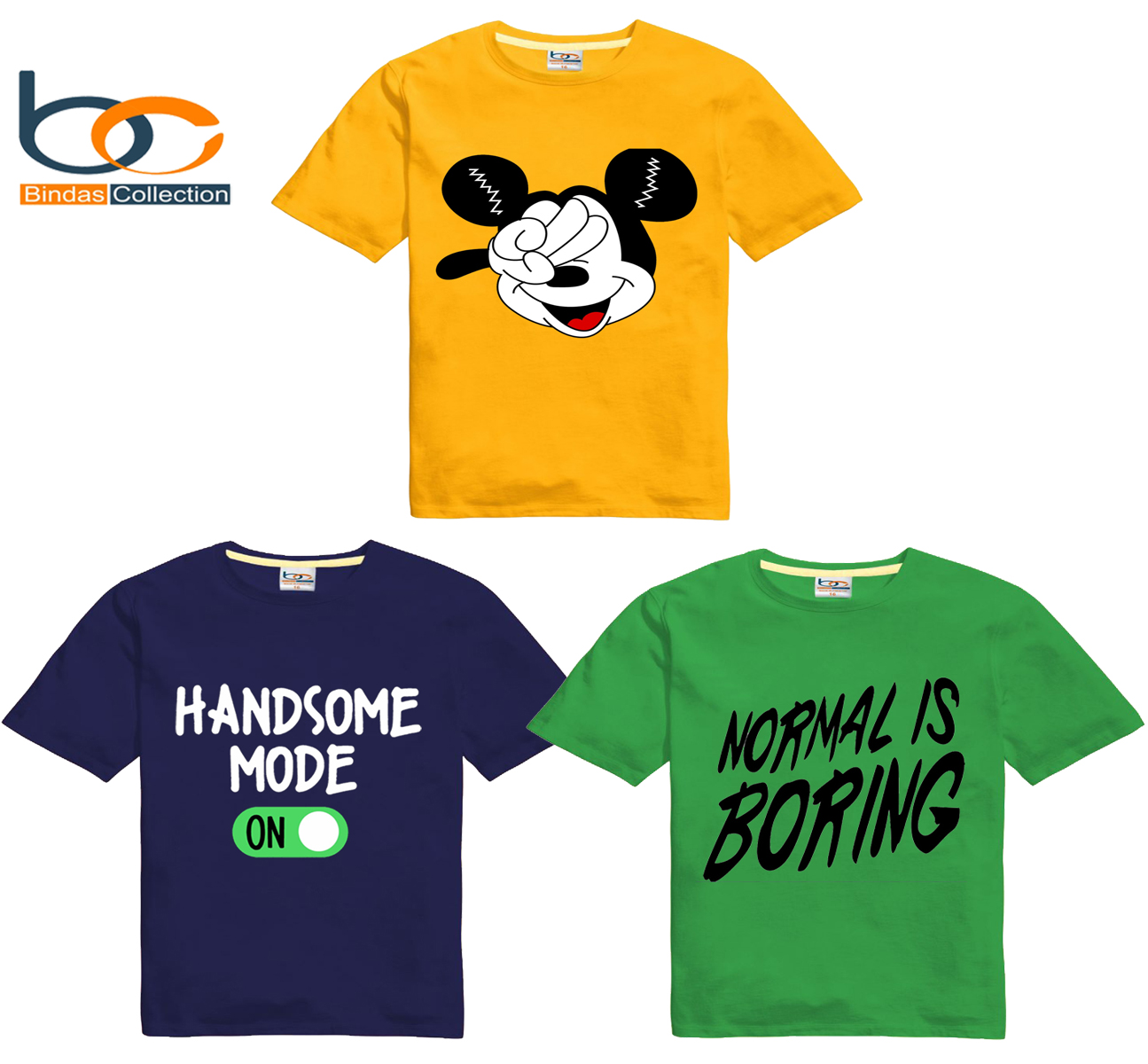 Bindas Collection Pack Of 3 Printed Cotton Jersey T-shirts For Kids