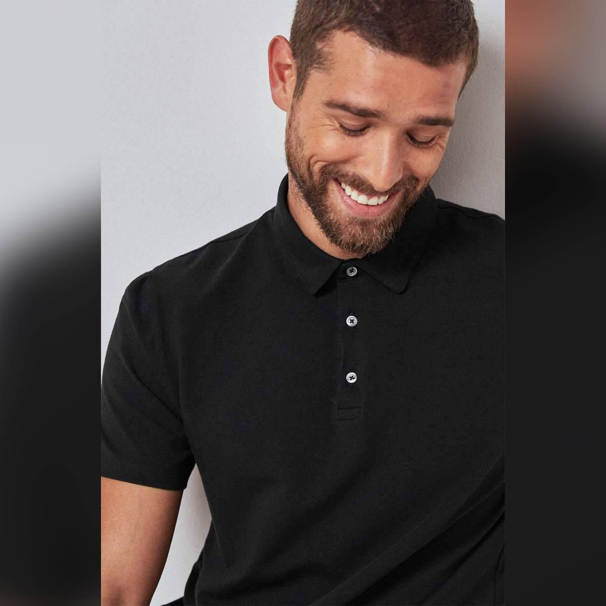 Anace Black 100% Cotton Polo Shirt for Men's