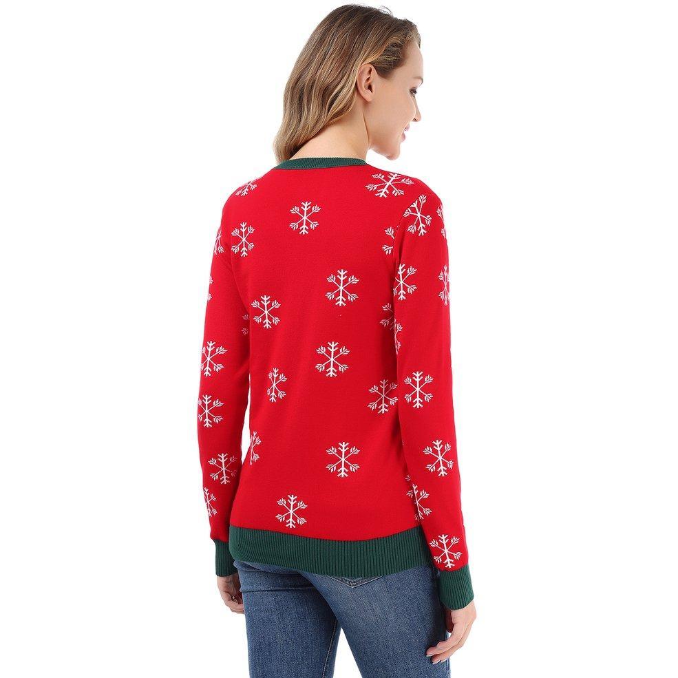 MA Winter Christmas Women Sweater O-neck Top Santa Ugly