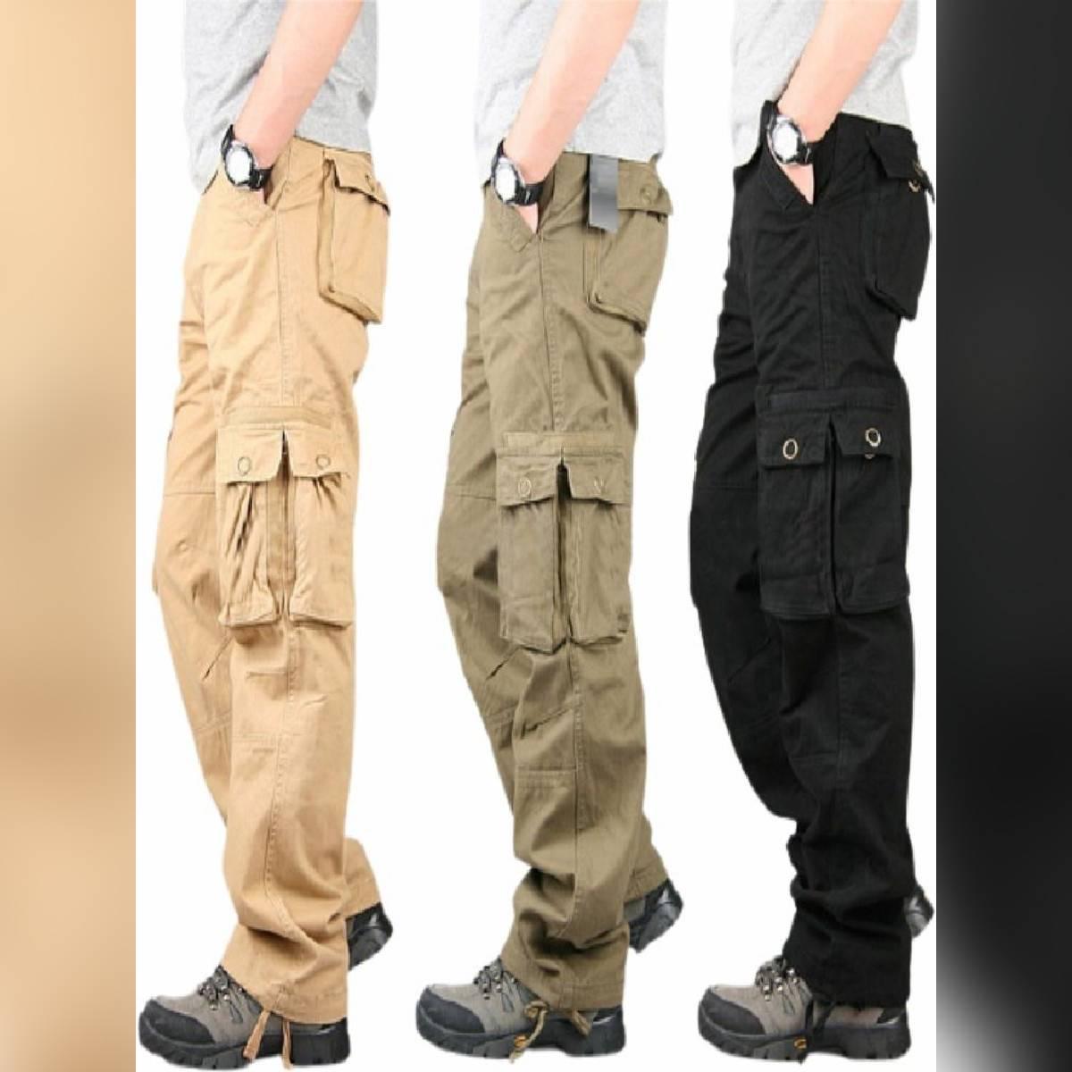 Six Pockets Cargo Trouser Pants - Black