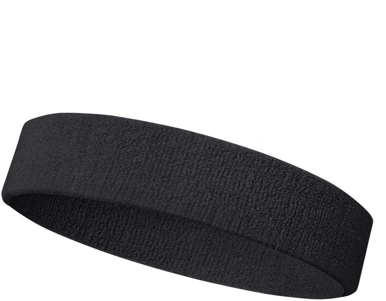 Black Outdoor Fitness Sports Sweatband Headband Yoga Gym Head Band