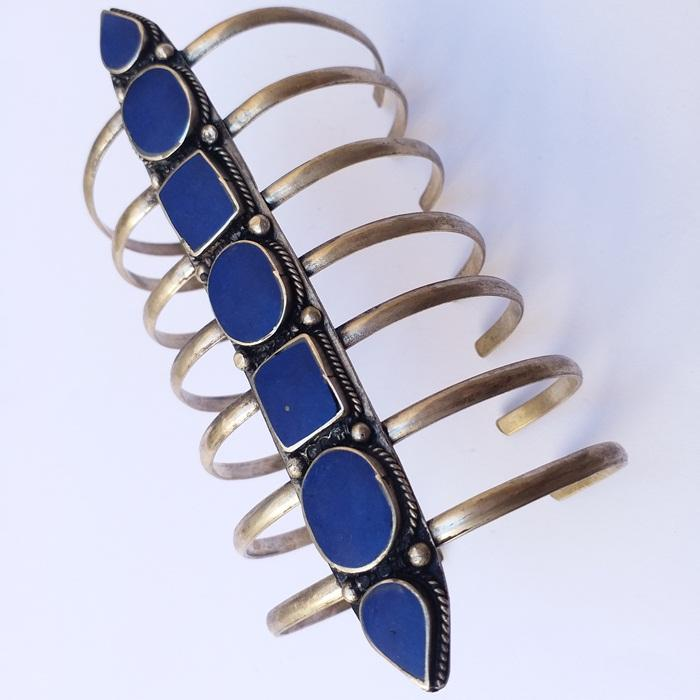 Afghani Tribal Antique blue stone Adjustable comb BraceleT for women