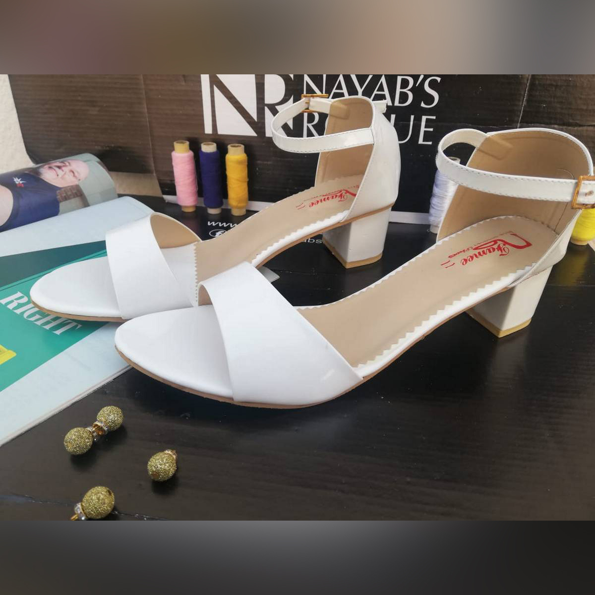 Womens Ankle Strap Block Heel – Cut Out Open Toe – Available In 8 Different Colors – Made In Usa – White