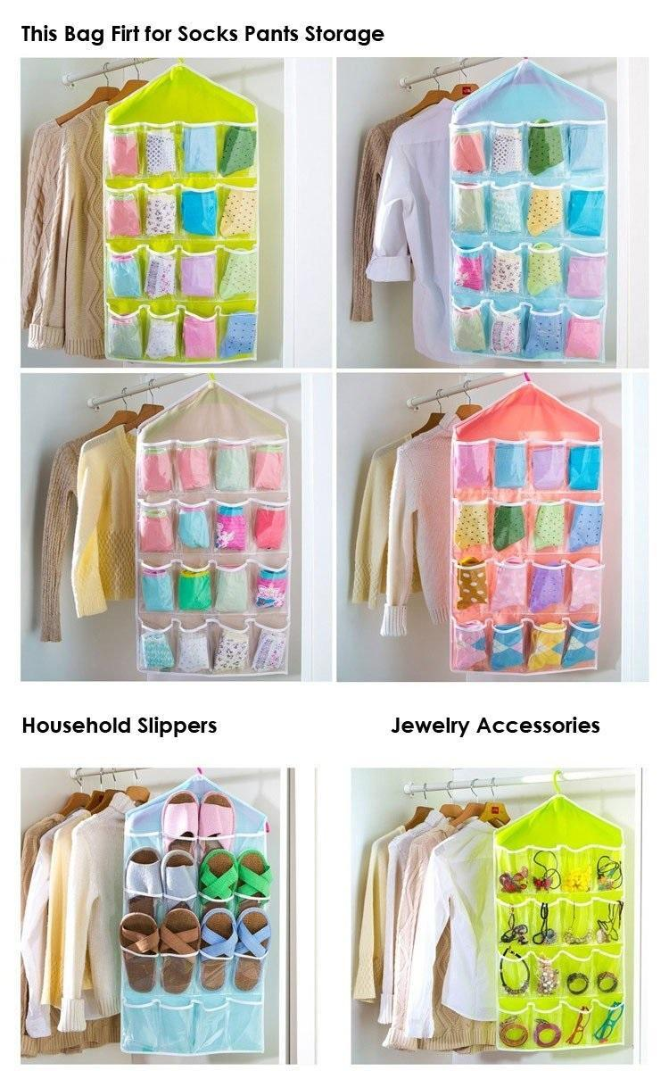 ColorSweet Candy Color Wardrobe Wall Mounted 16 Grid Storage Bag For Clothing Socks Pants And Stuffed Plush Toys