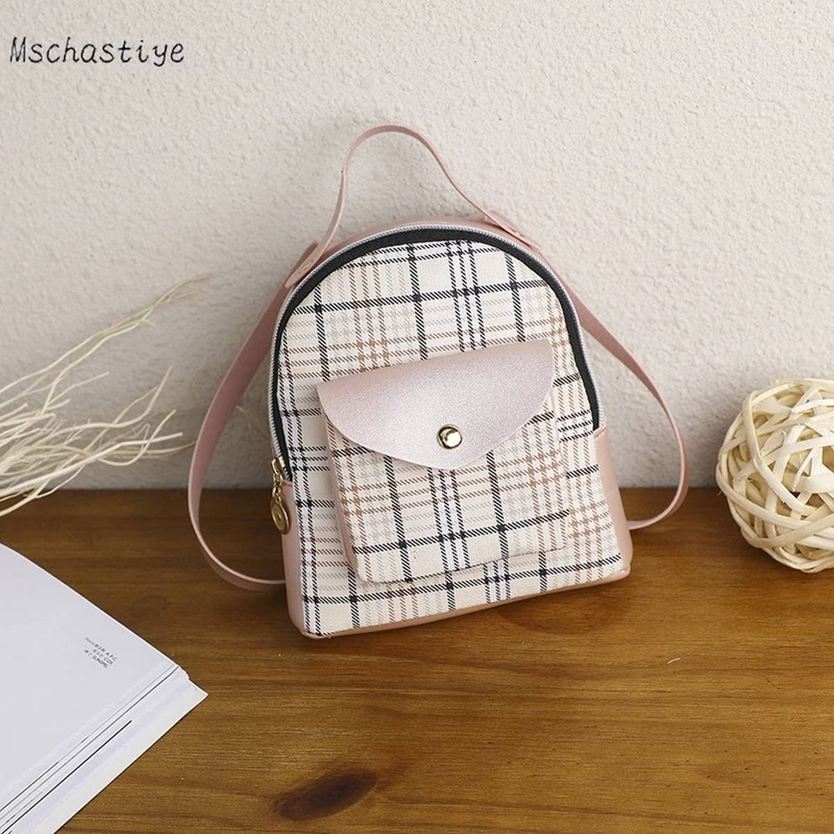 3 Style Use Pu Leather Check Print Material Bag for Stylish Girls (Backpack+Side Shoulder+Hand Carry)
