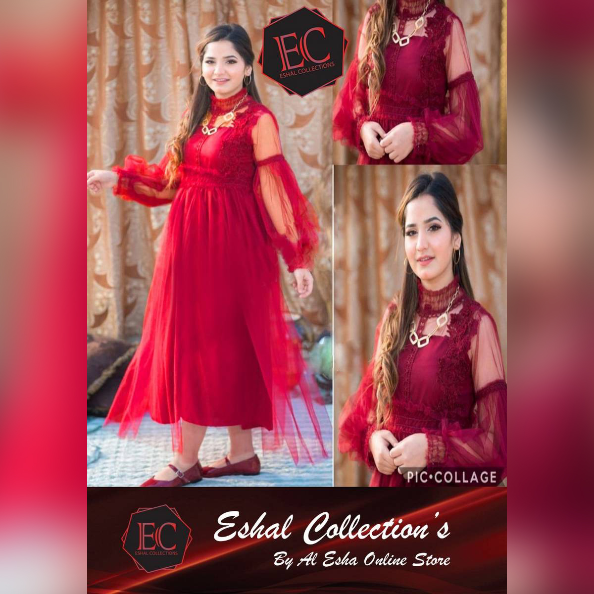 Bidiwalas stylish long frock/ stiched net frock / Designer net fock/ New frock style/ Mirror Maxi with trouser/ Ready to Wear/ For Women and Girls/ net frock with cotton inner / Trending/ 1 piece