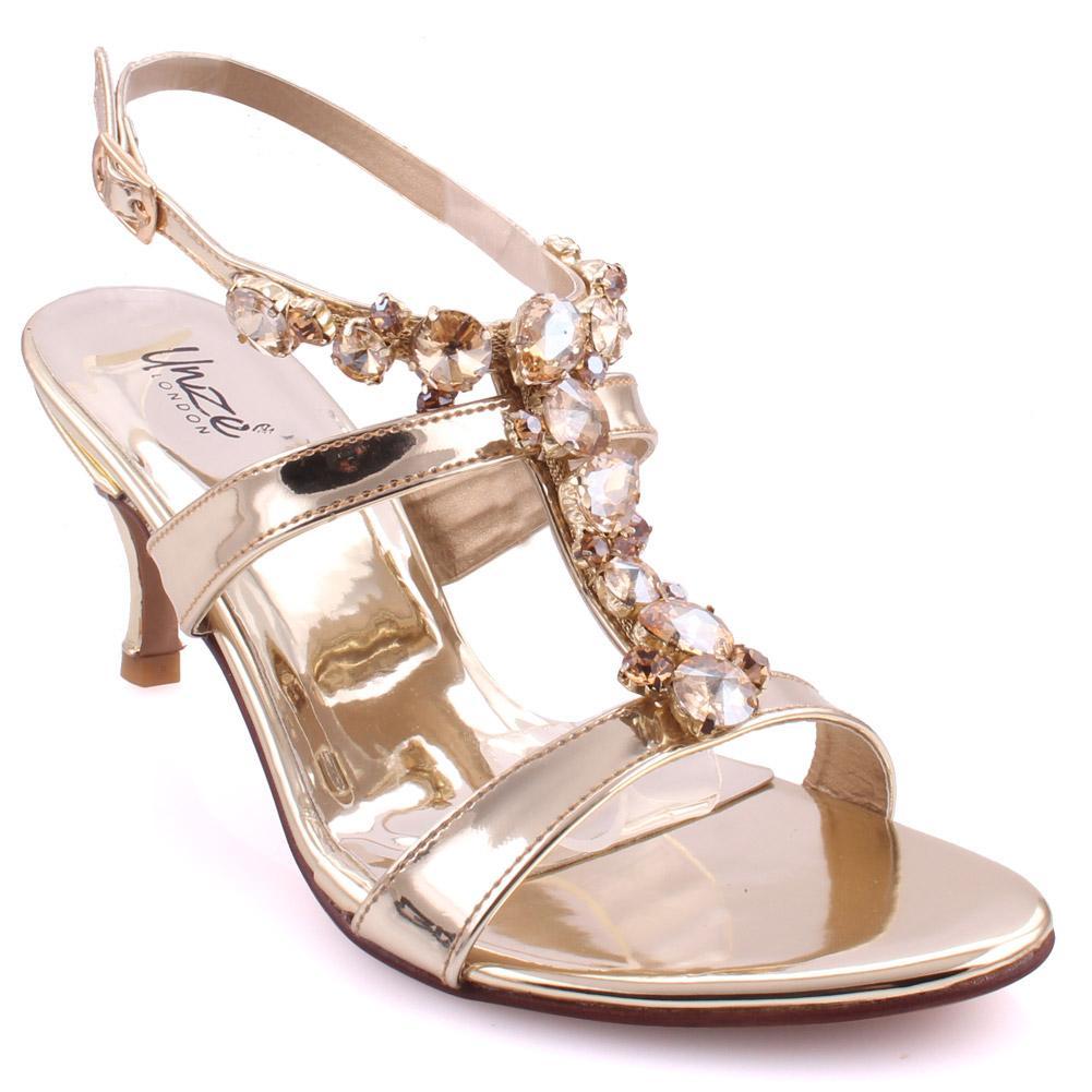 "0cec1b0c5c14 Gold Women ""JESSAMY"" T Design Diamond Decorated Slip on Heels Sandals L30105"