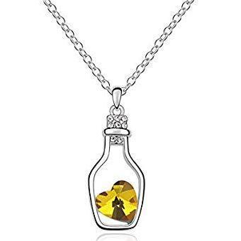 Women Crystal Love Drift Heart Bottle Pendant Necklace