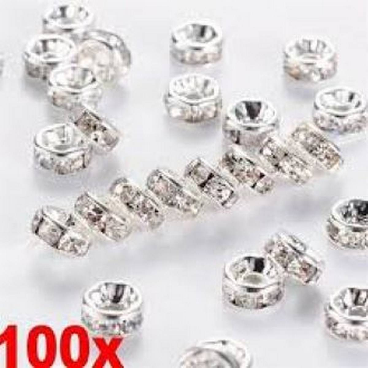 100 pc 8mm Rhinestone Glass Round Loose Spacer Beads craft Silver Colour