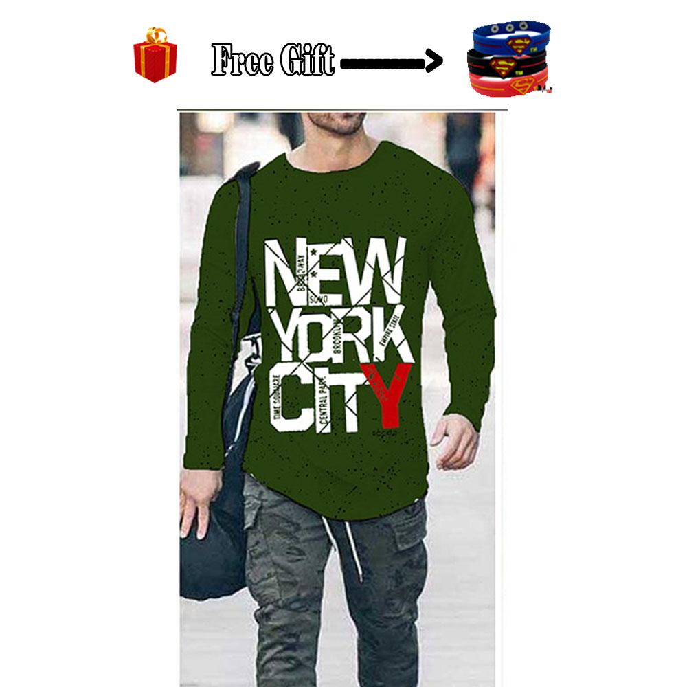 c4e453518199 Dot Shop - Green New York City Dotted Printed T Shirt For Men + Free Gift