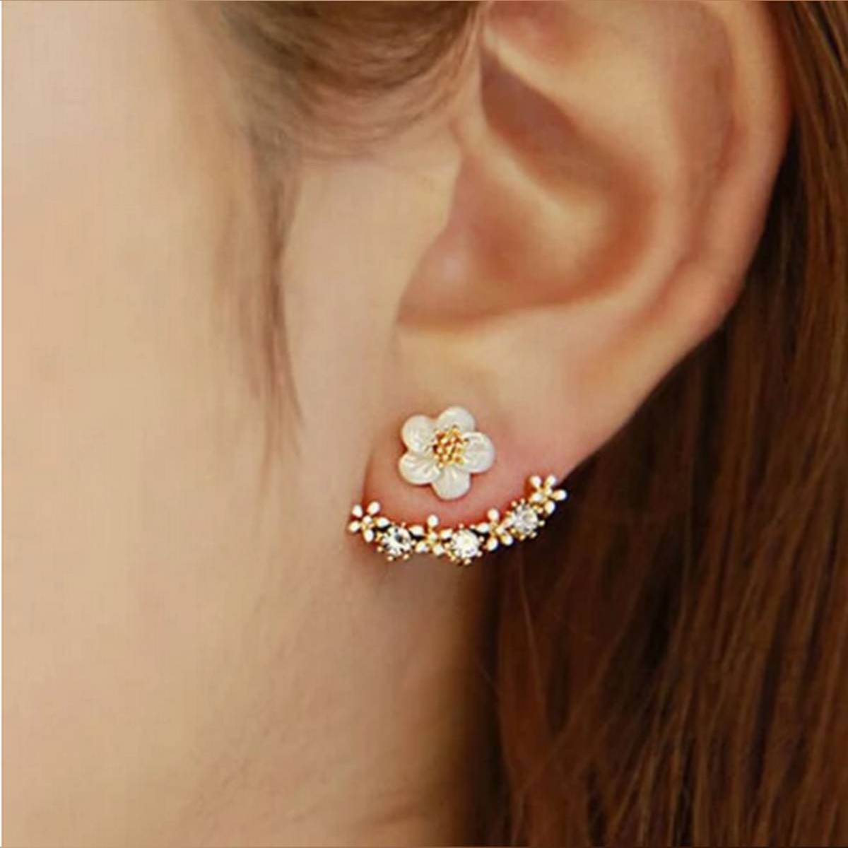 1Pair Women Fashion Flower Crystal Rhinestone Ear Stud Earrings Gift Women's Jewelry