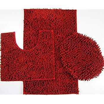 Bathroom Mat Rug, Contour & Toilet Lid Cover, Anti Slip, Washable (3 Pieces  Set)