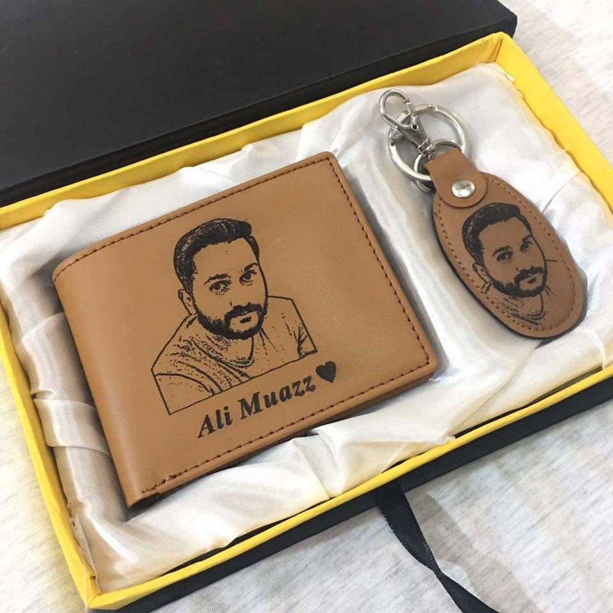 Customized/Personalized Name And Picture Engraved On Wallet and Key chain With Gift Box Packing (PERFECT GIFT TO SEND YOUR LOVED ONES)