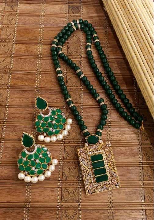 Latest Design Wedding And Party Wear Women Necklace And Ear Rings - Green And Golden Colour
