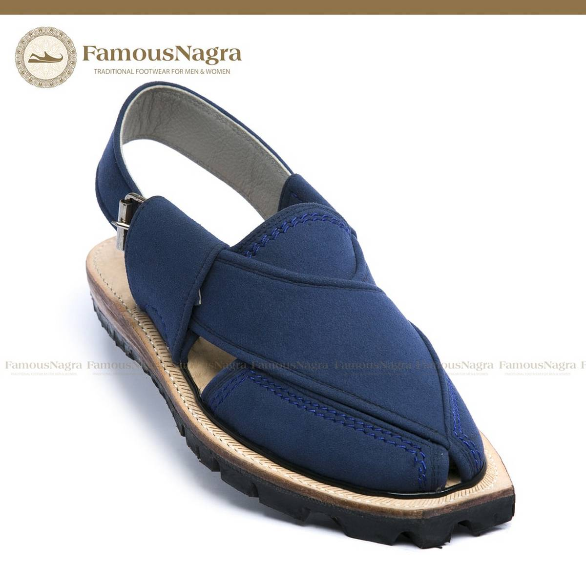 Norozi Chappal / Sandal – Gents – Suede / Sabar Leather – Blue – Leather Insole – Thick Tyre sole – Art 727