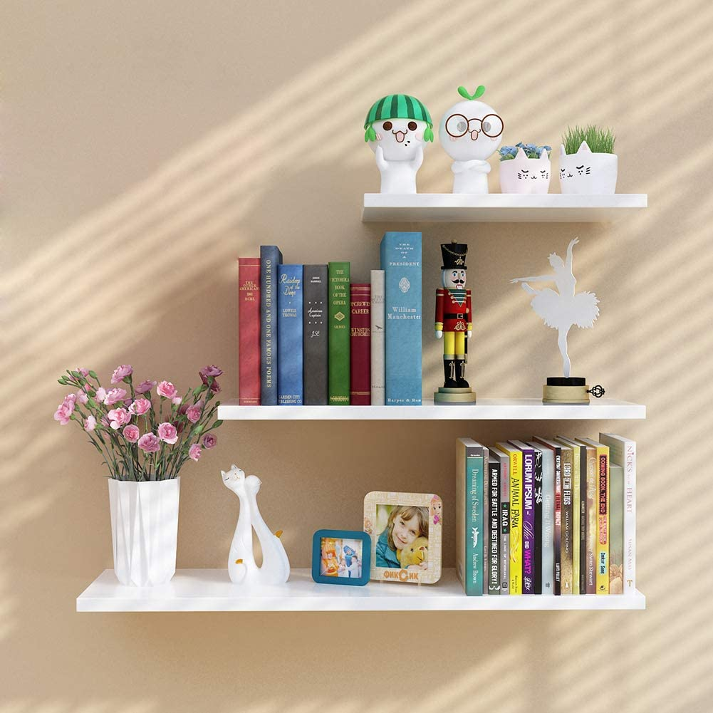Set of 3 Wall Mount Shelves  Floating Lightweight Book Shelf  Decorative Shelves  Storage Display Rack  DreamDecorPK