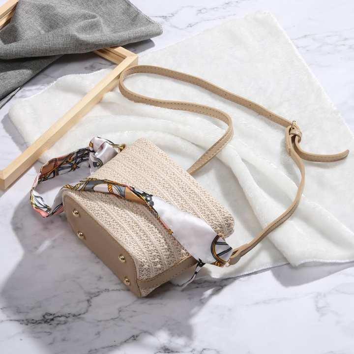 MissFortune Women Fashion Summer Style Wild Beach Bag Messenger Shoulder Bag Woven Scarf Bag