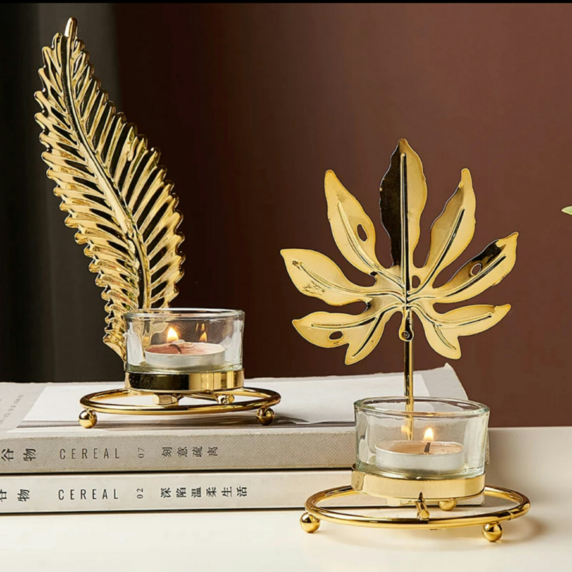 1 piece European style modern home decoration accessories Yellow gold leaf shaped candle holder Restaurant hotel living room bedroom