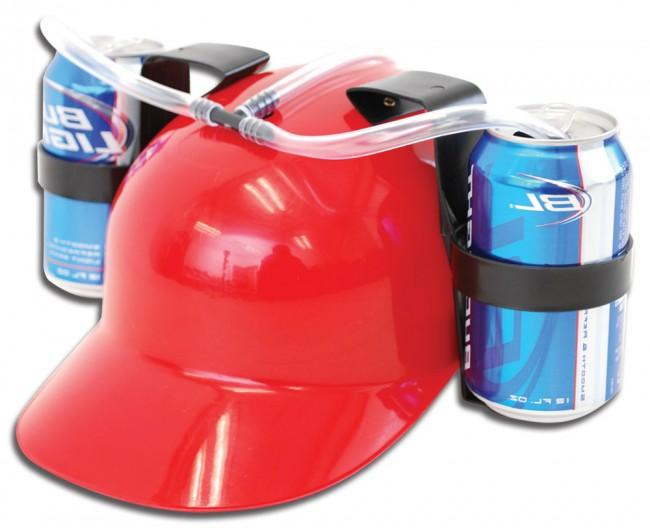 4ae8463a3ae Soda Hat With Two Can Holders And Changeable Straws - Red