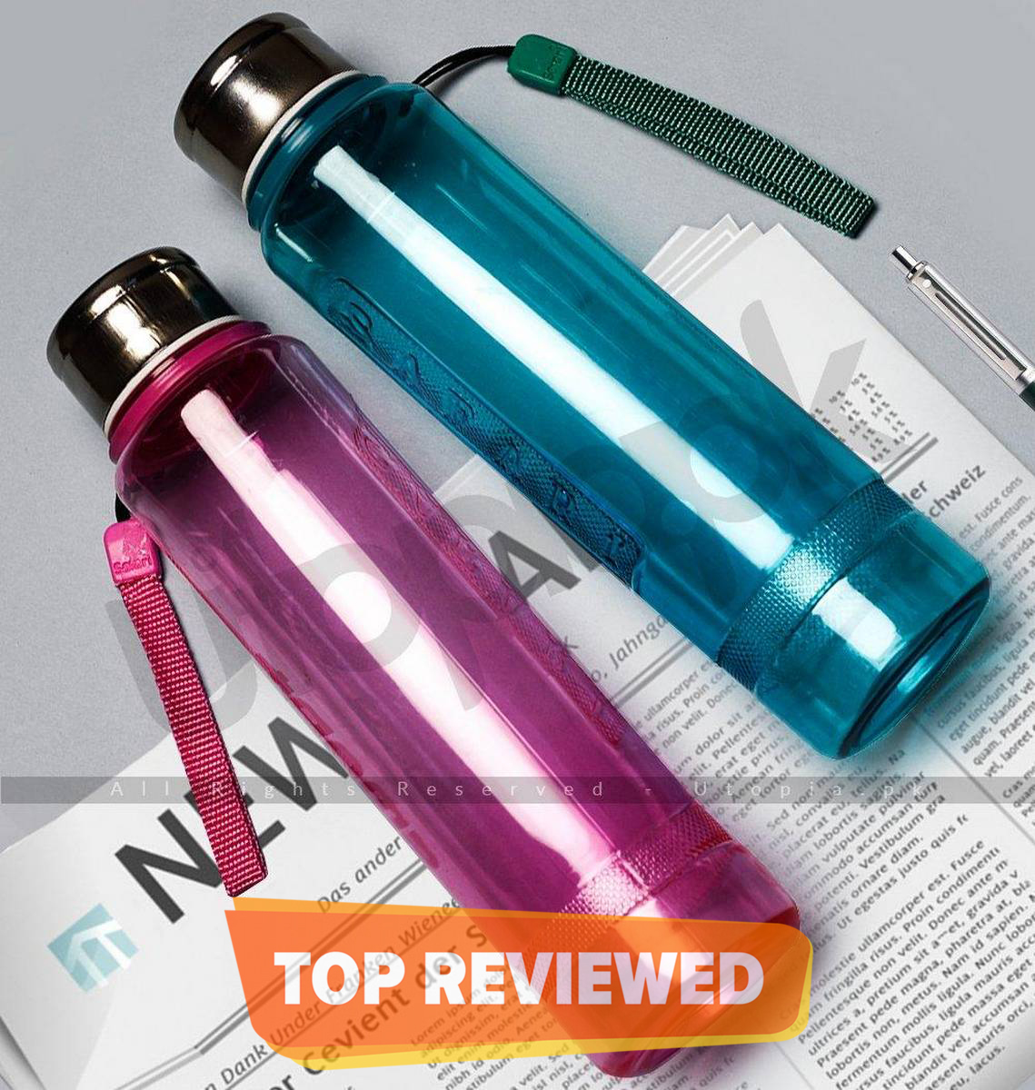 Water Bottle With Steel Cap Pack of 2 Pink & Blue 500ML