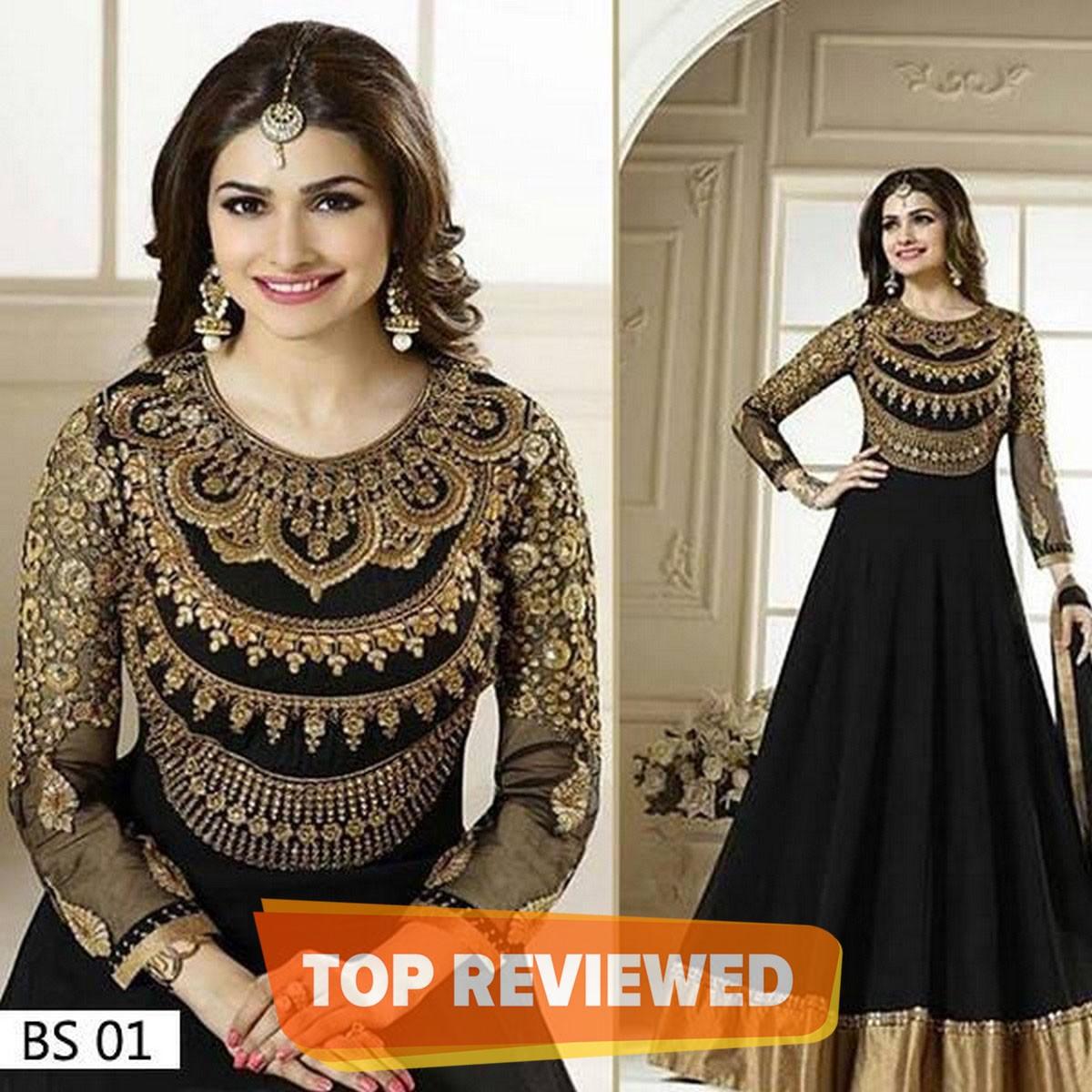 Black Chiffon Embroidered Semi Formal Dress