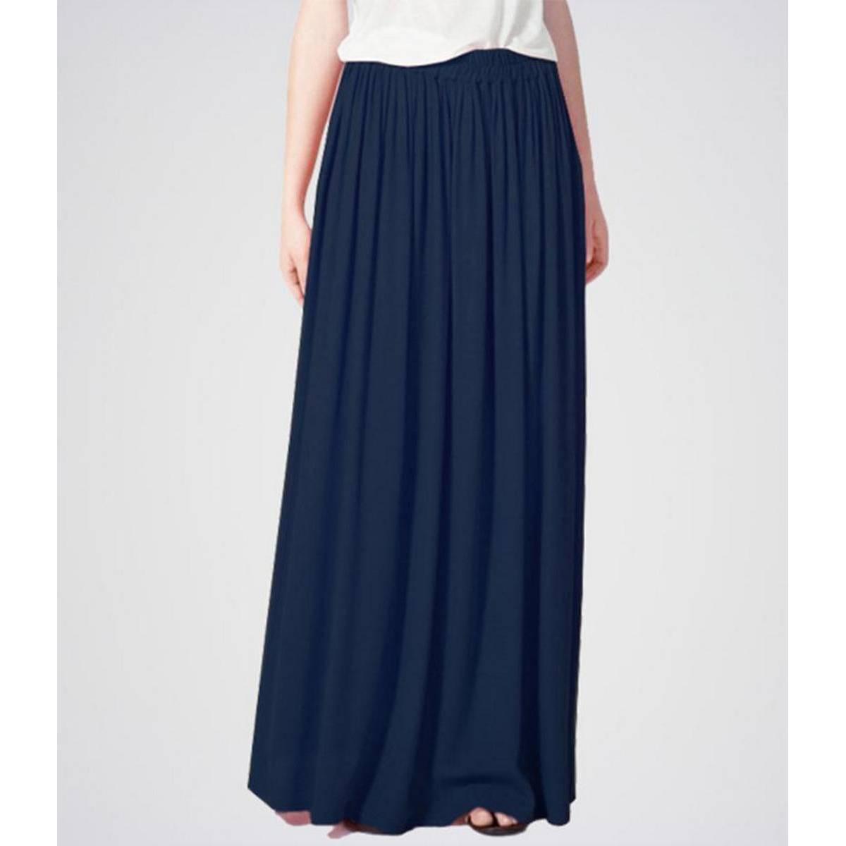 STYLE UP Blue Crepe Elasticated Waist Long Skirt For Women, Skirt For Girls