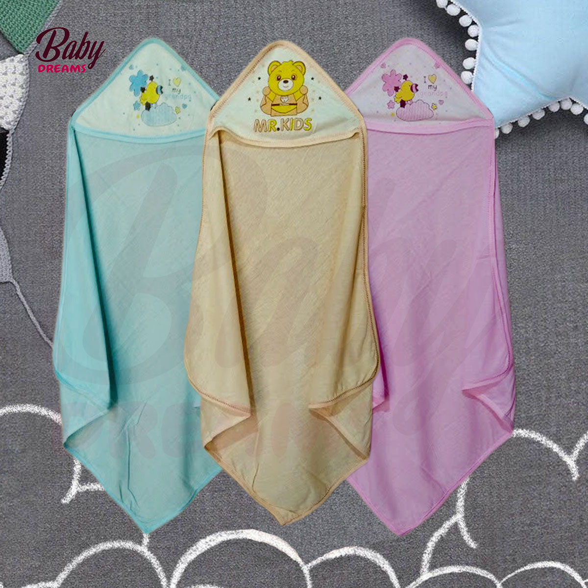 Baby Swaddles Wrapping Sheet With Hoddie (Pack Of 3) BD-F011