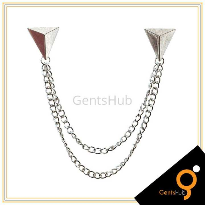Silver Triangle Shape Collar Brooch With Chains