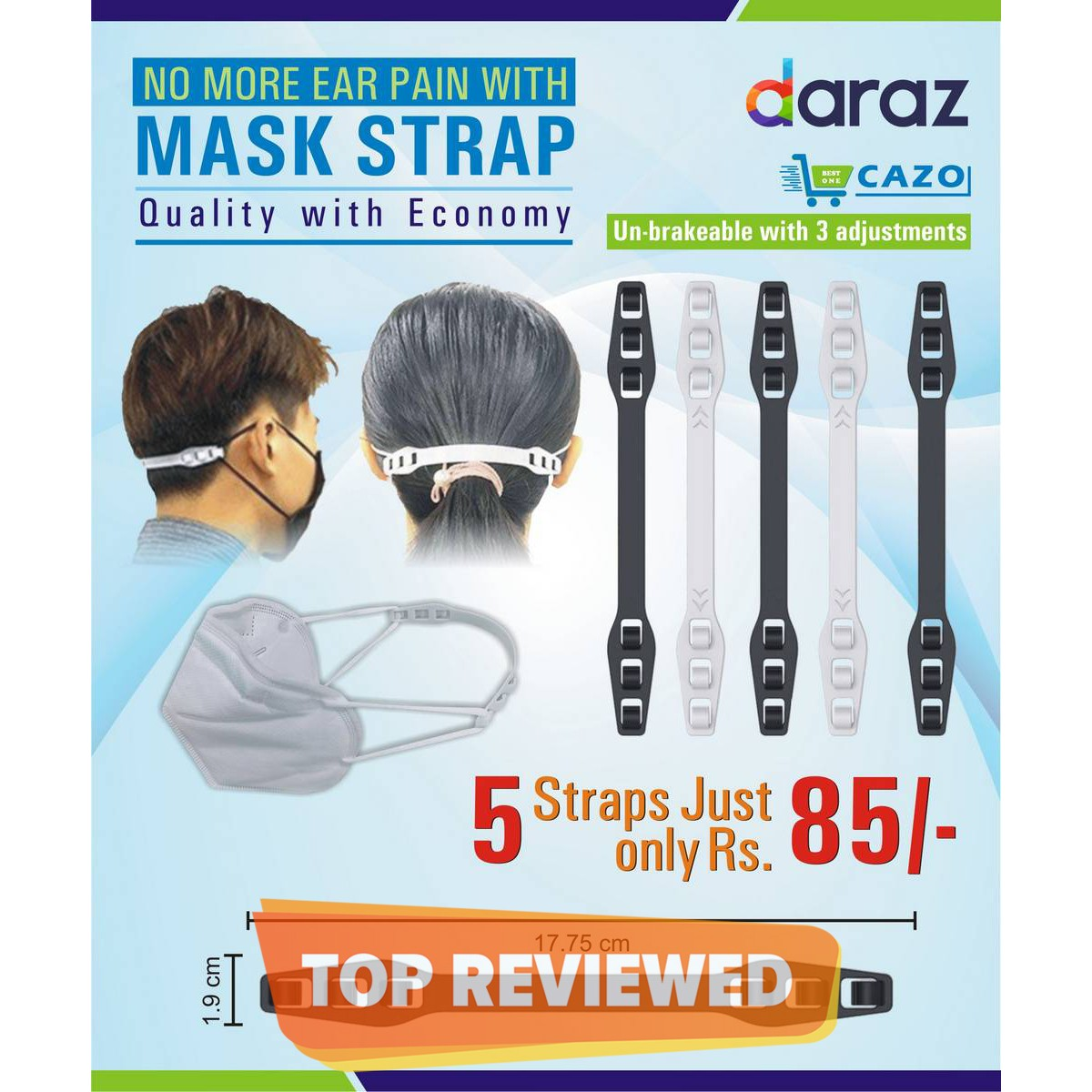 Mask Holder/ Mask Strap  Pack of 5 straps for any type of mask. Painless, Comfortable Ear Saver Holder