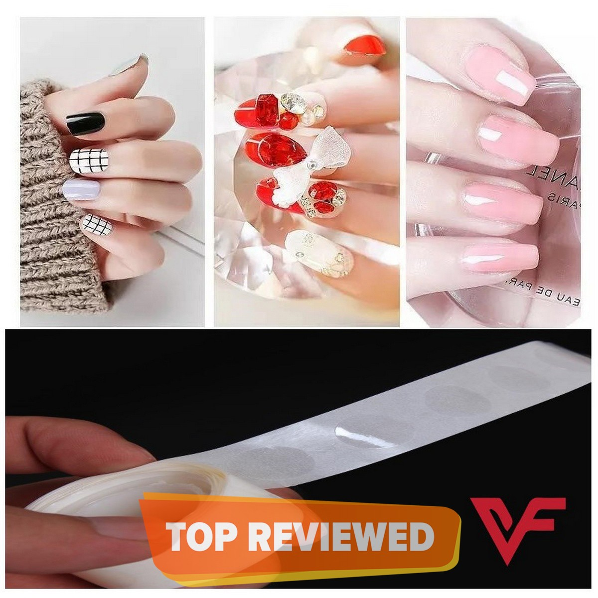 100 Glue Dots Fakee Nails Sticker Transparent Double Sided Adhesive Tapes Stickers Falsee Nail Tips Extension Stick Tools Artificial Nails Sticker
