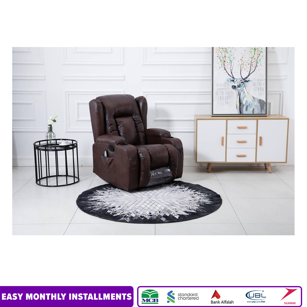 IMPORTED RECLINER SOFA WITH HEATING PADS AND VIBRATION MASSAGE FUNCTIONS