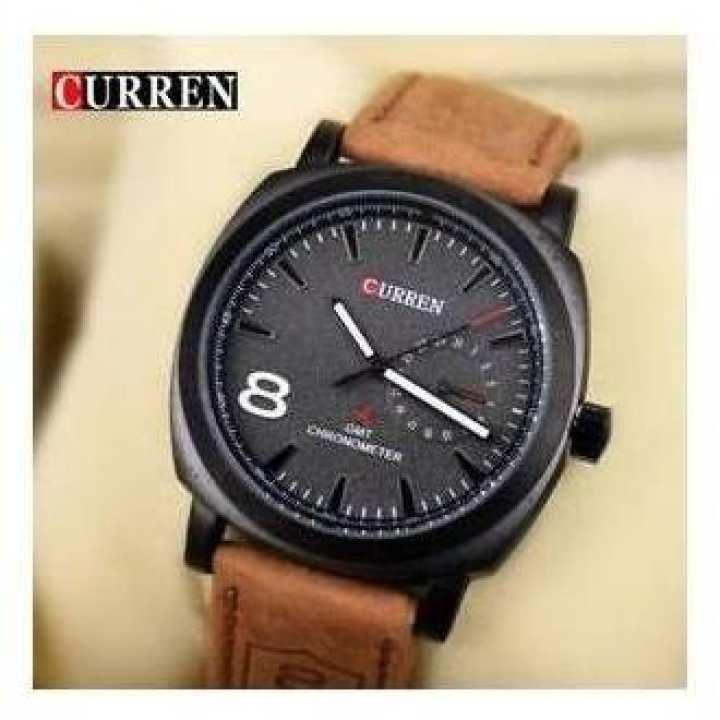 Brown Leather Analog Curren Wrist Watch - Brown