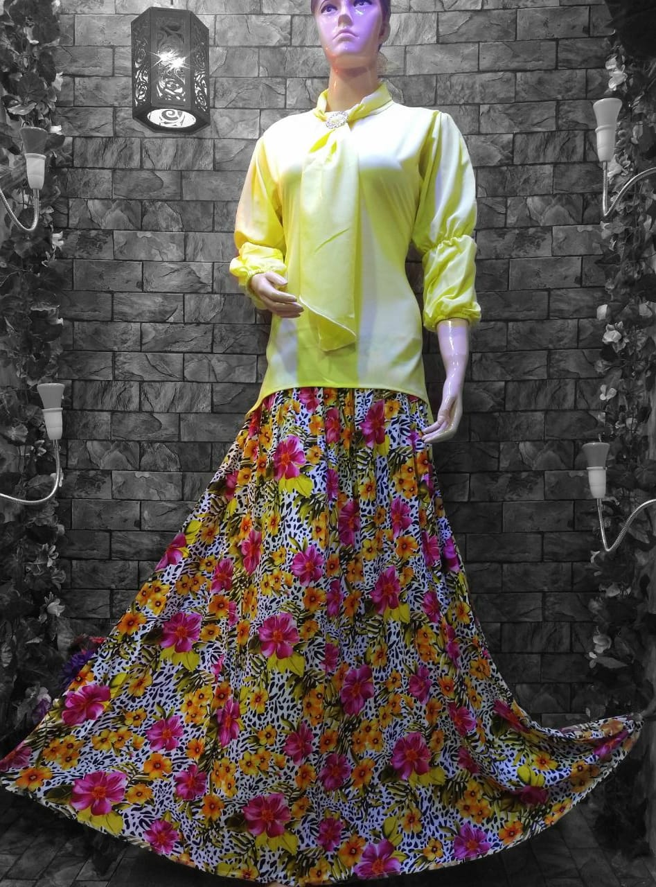 TRENDZ FASHION multi color linen printed skirt with fancy top for women FPS-004