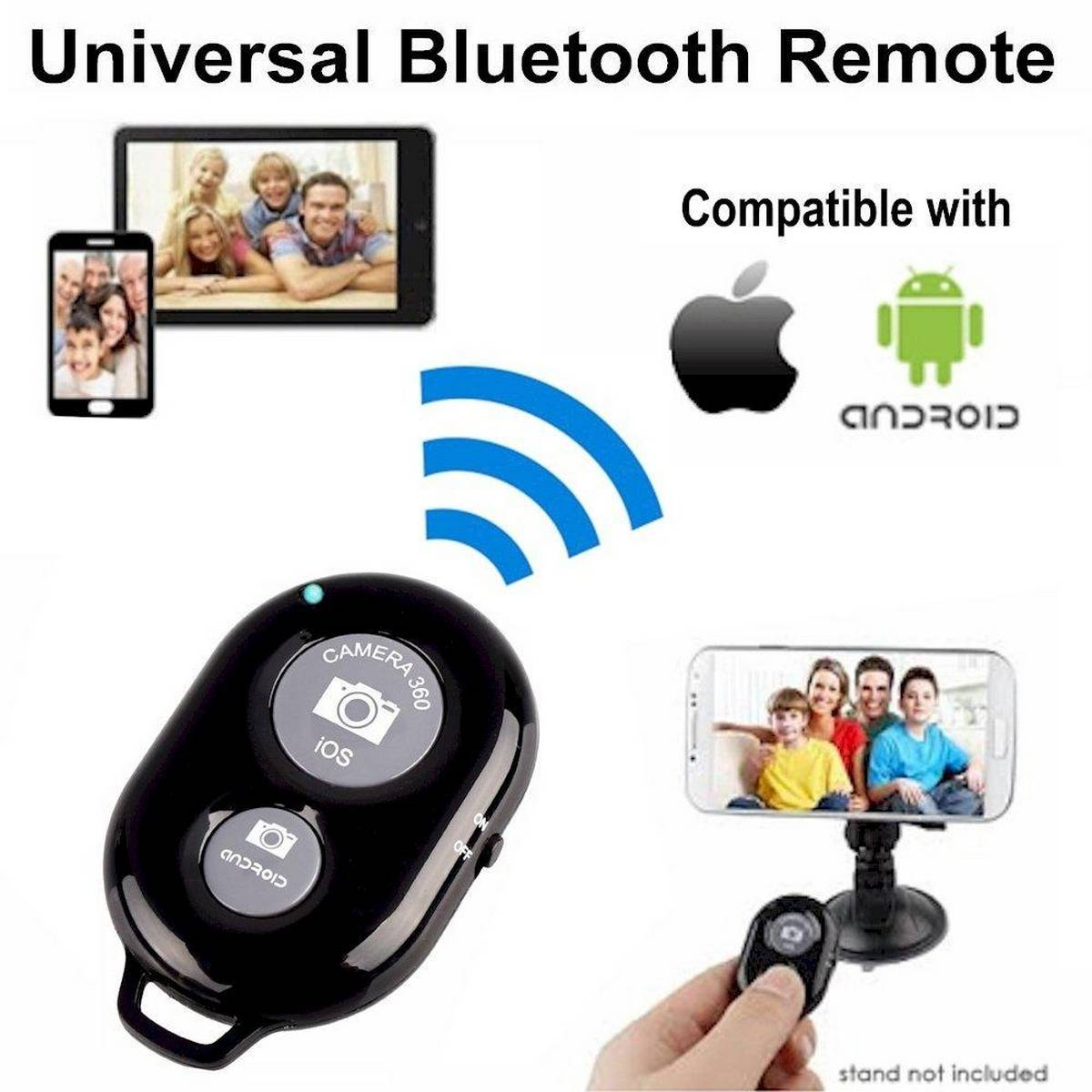 Wireless Bluetooth Remote Shutter Button For Selfie Stick Monopod Tripod Compatible With iOS And Android Devices Smartphones