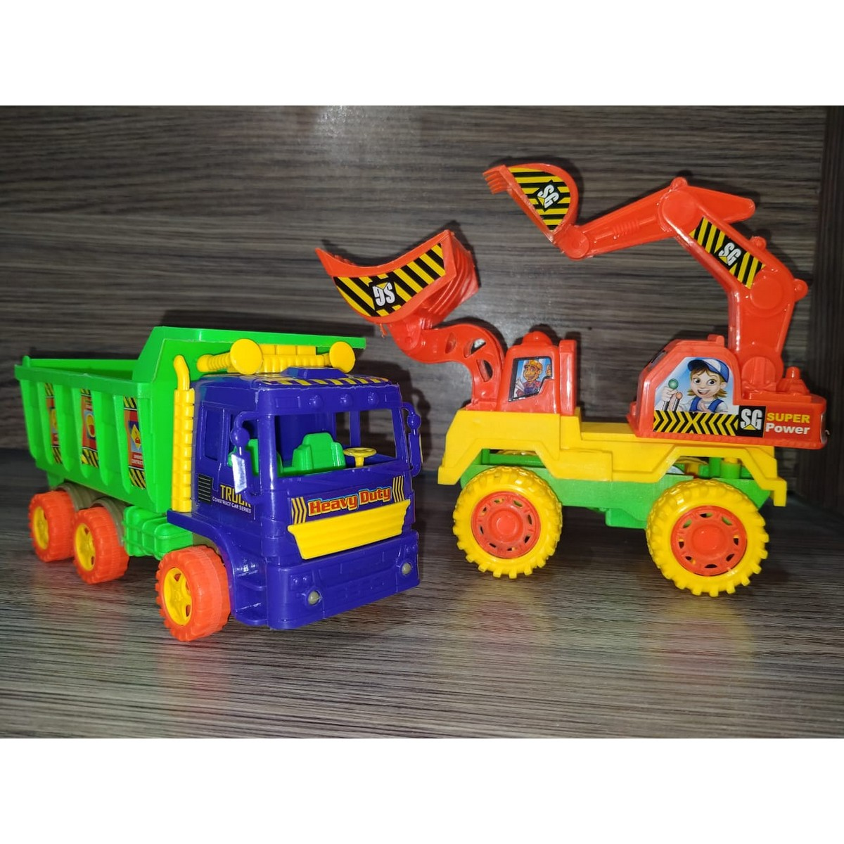 Pack of 2 Toys: 1 Dumper Truck + 1Construction Crane – Beautiful Excavator & Jack Truck -Friction Powered Mini Loader – Beautiful Construction Toys set for Kids