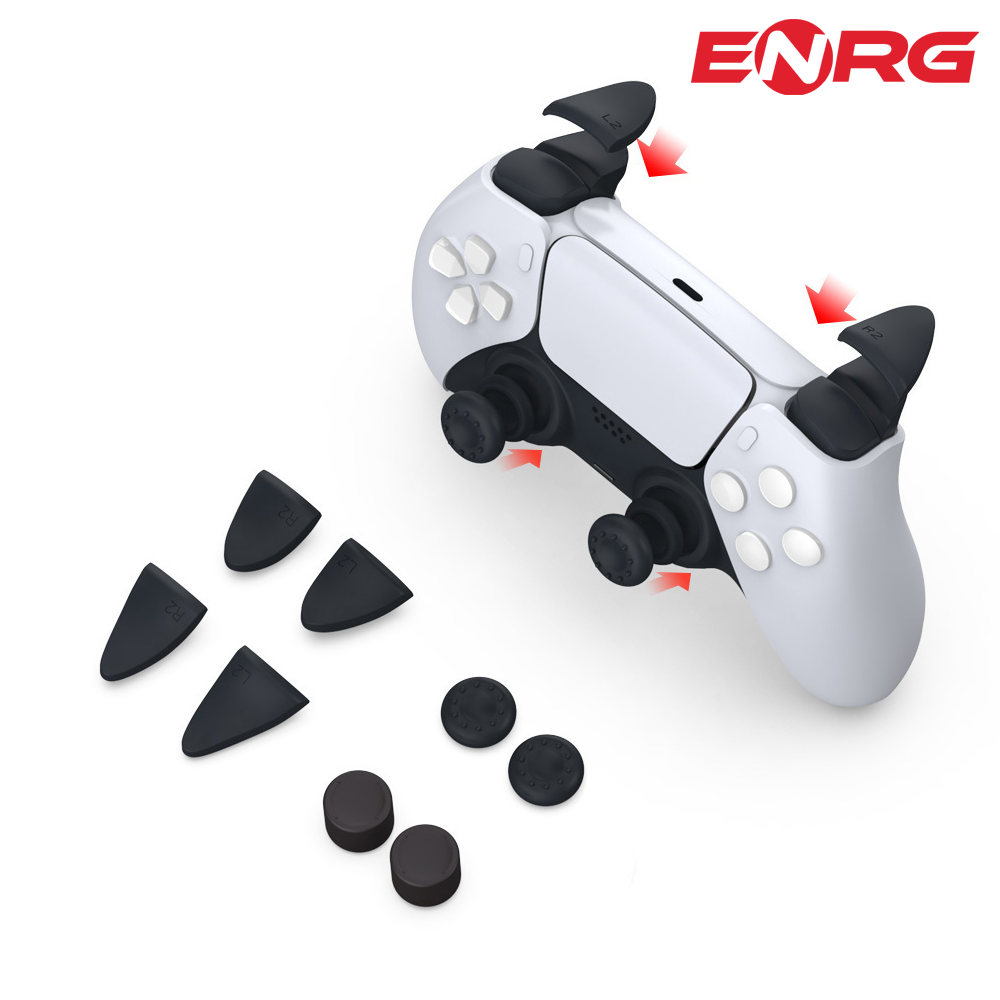 ENRG  8 in 1 Thumb Stick Grip for Key Caps Joystick Cover L2 R2 Trigger Extender Controller Accessories For Sony Playstation PS5/PS4 - Black