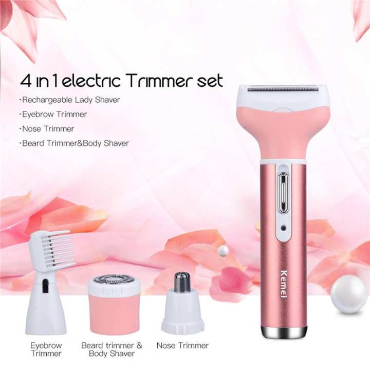 Kemei KM-3024 Electric Shaver 4 in 1 Rechargeable Hair Trimmer Women Hair Removal Machine Epilator Eyebrow Nose Trimmer Razor