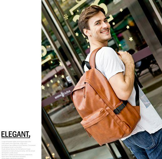 b942873589f2 Multi functional Casual Pure Leather Shoulder Bag, Trendy Laptop backpack  for Men 15.6