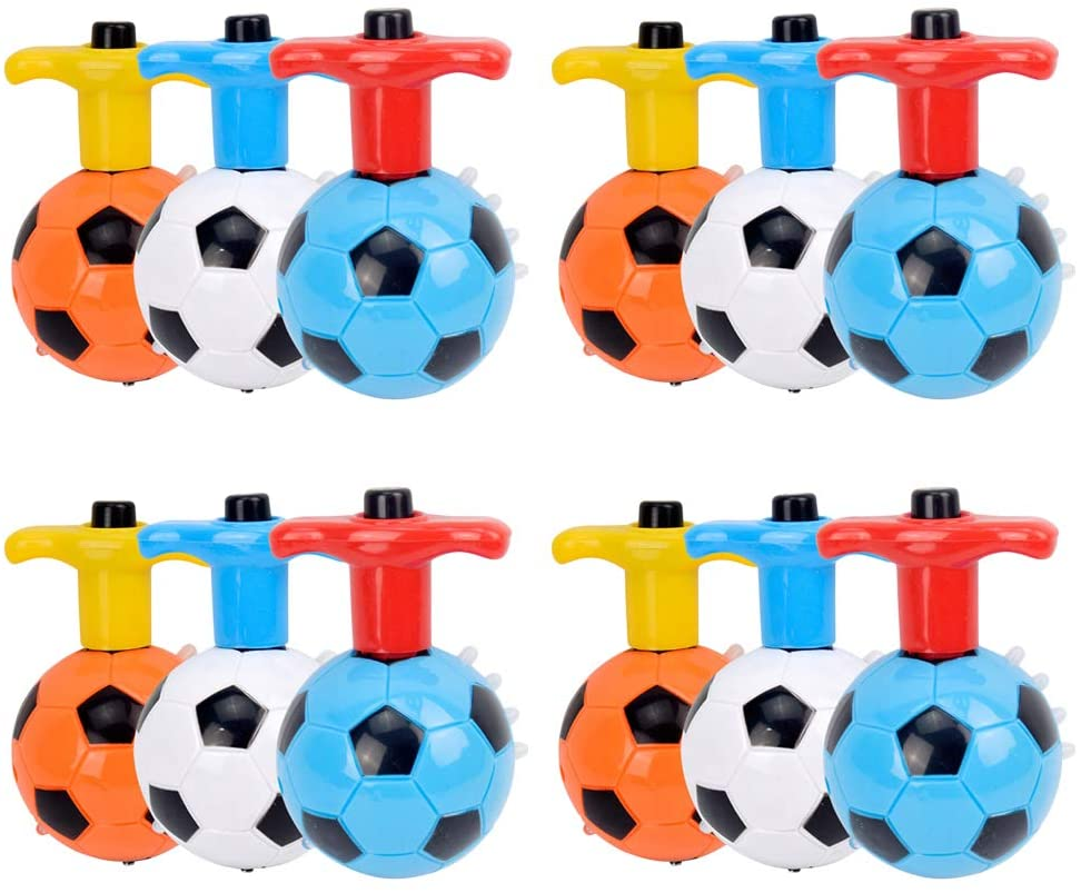 Pack of 2 Flashing Football Spinning Top Set with Gyro Light and Music For kids