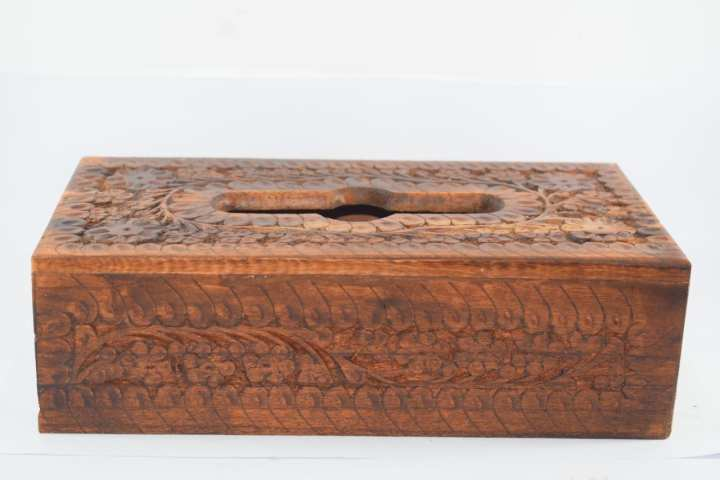 """Tissue Box handmade wood Carving - 6"""" x 11"""" Inches LARGE SIZE"""