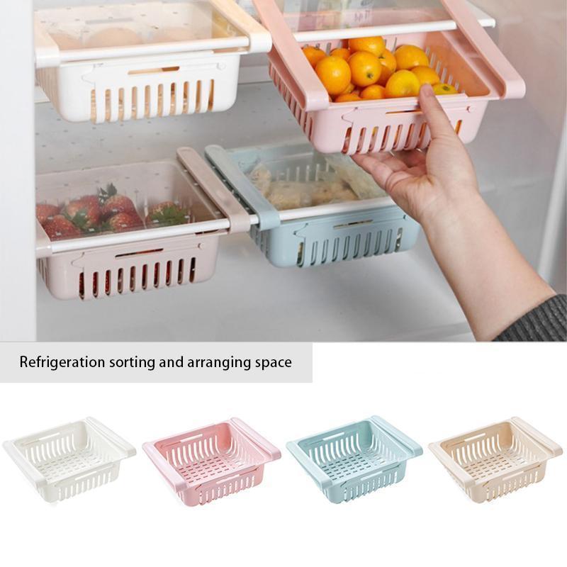 Adjustable Fridge Storage Basket Expandable Fridge Storage Rack Plastic Fridge Space Saver Food Organizer Tray