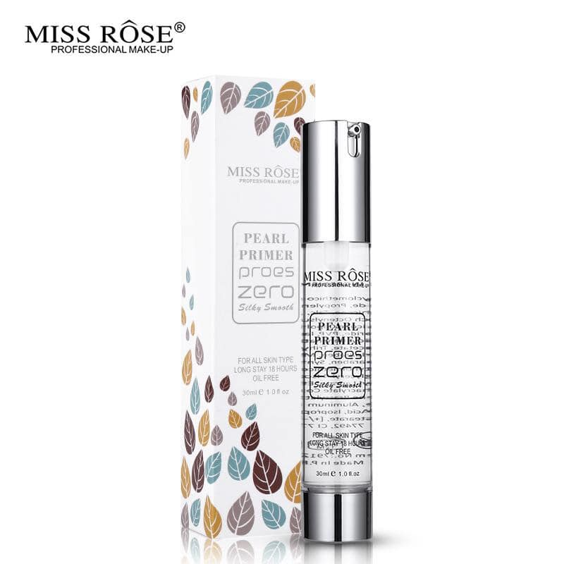 Miss Rose Pearl Primer proes zero  silky smooth  for all skin type long stay 18 Hour Oil Free 22ml.
