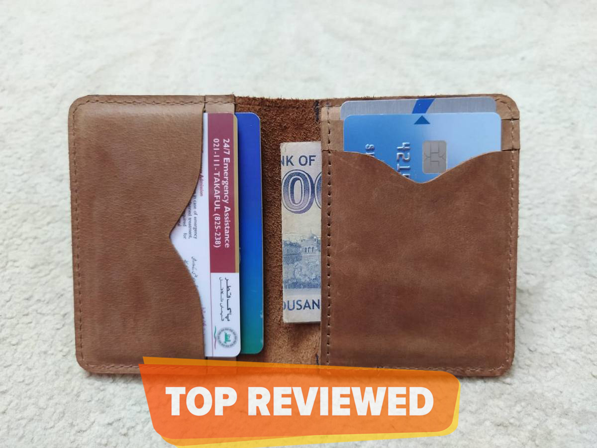 Slim Minimalist And Small Bi-fold Card Holder Wallet of Pure Raw Cow Leather To Carry ATM | Credit | Contact Cards And Cash With 7 Pockets - Brown | Black