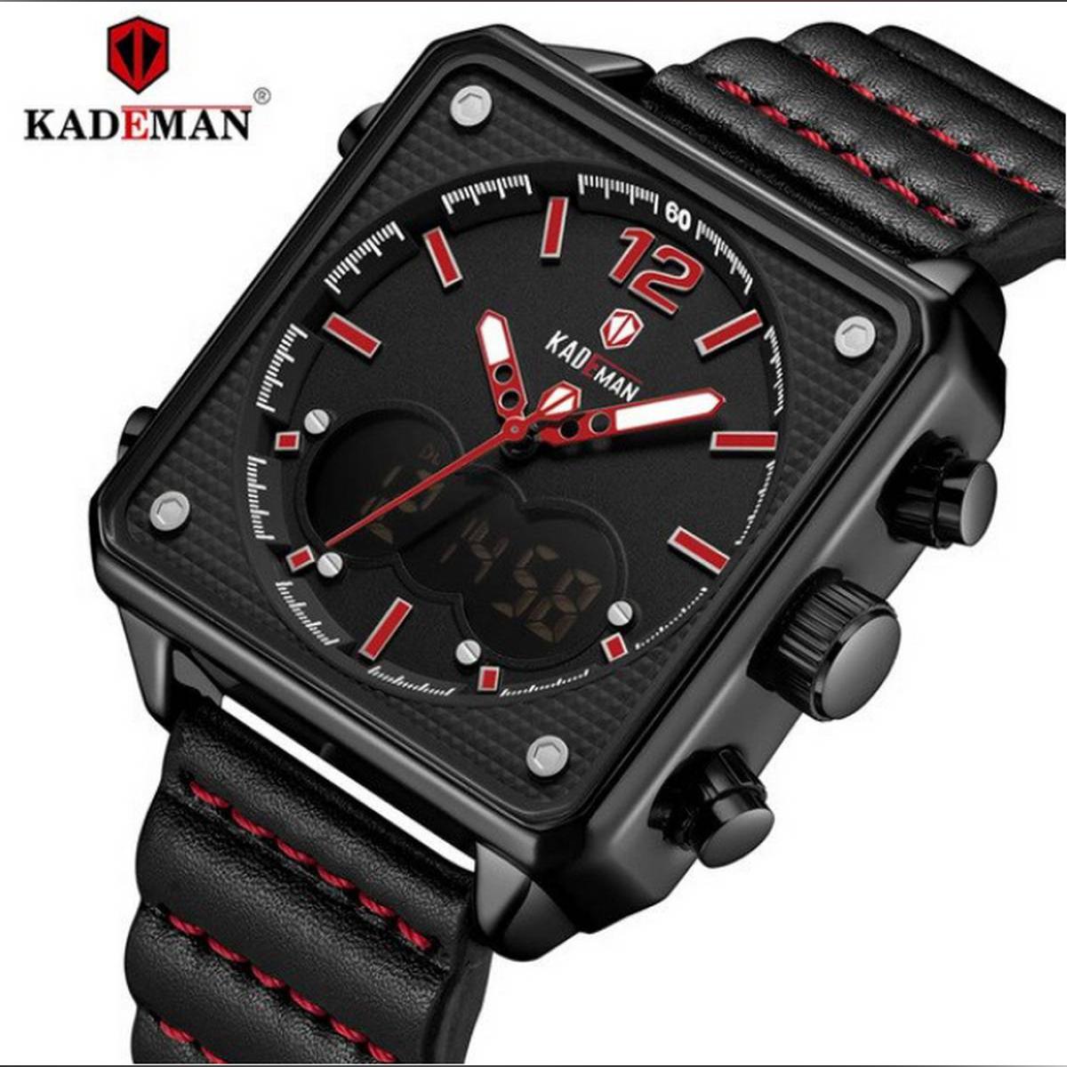 KADEMAN Dual Display 3ATM Square Dial Leather Straps Watch - K9038