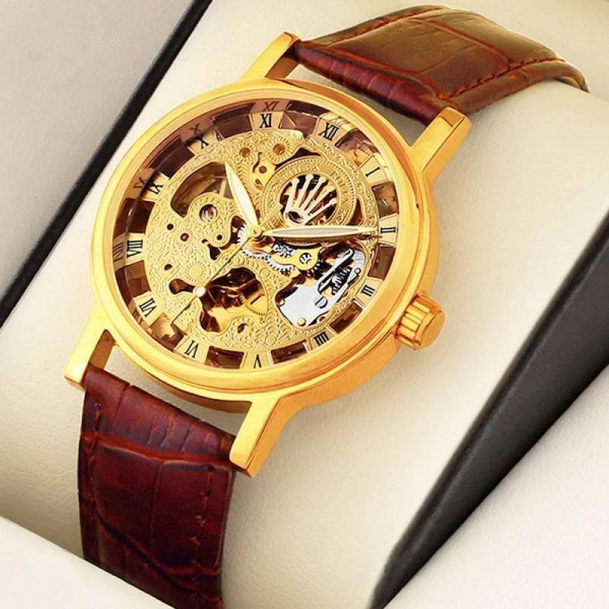 Men Casual Leather Mechanical Wrist Watch