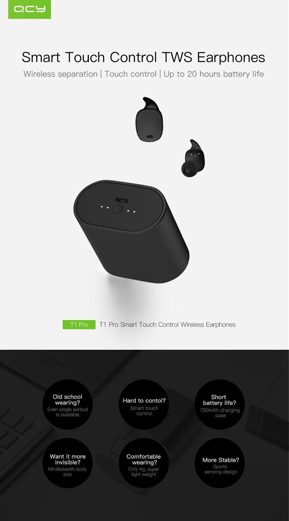 beaefa72aeb [True Wireless] QCY T1 PRO TWS Dual Bluetooth Earphones IPX4 Waterproof  Headphones with Charging